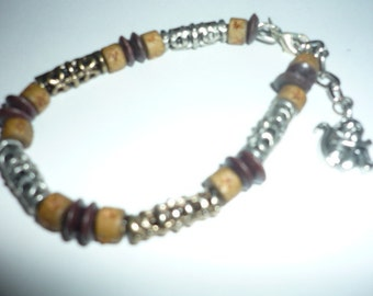 Timber and silver jungle look Beaded bracelet