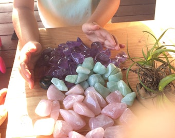 Améthyste, chargé de lune, reiki infusé, guérison des pierres précieuses, pierres polies lisses, cristal