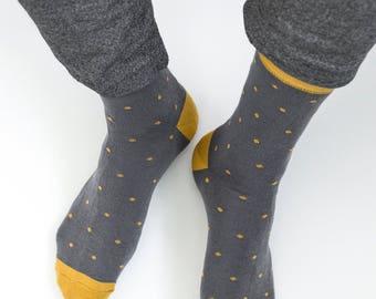 Gray Socks, Mens Socks, Casual Socks, Gift for Men, Colourful Socks, Wedding socks, Groom Socks, Groomsmen Socks, Retro Socks