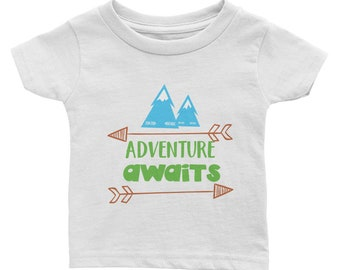 Adventure Awaits Namaste Mountains Camping Hiking Outdoors Infant Tee