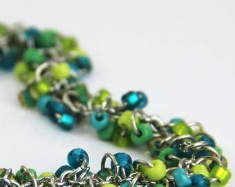 Teal Lime Cluster Bracelet - Colorful Teal Blue Turquoise Lime Kelly Green Jade Glass Beaded Silver Bracelet