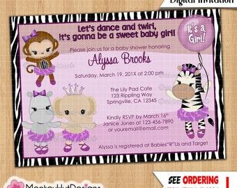 Baby Shower Girl Monkey Invitations ~ Girls ballerina baby shower invitations monkey tu tu cute tutu