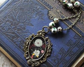 "Necklace - illustrated necklace - Bohemian necklace - flower - ""Flora Black"""