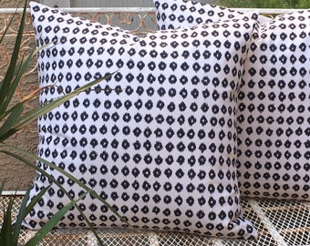 Woven Cotton  Cream and Black Symmetrical Leopard Dot Pillow Cover  Designer Fabric  Farmhouse / Modern