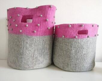 pink and grey felt basket, kids felt basket, kids felt bag, children storage bag, kids storage basket, laundry baskets, hampers