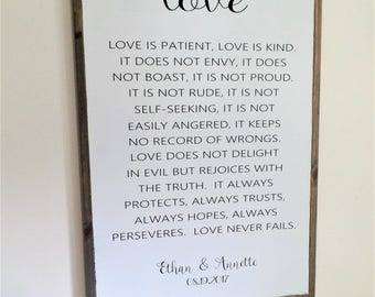1 Corinthians 13 Love is Patient Wood Sign Personalized Wooden Sign Wedding Gift Love Never Fails Sign Large Framed Distressed Wall Art