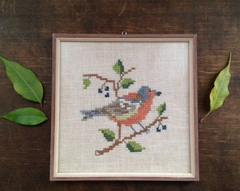 Embroidered bird picture Embroidered wall hanging Spring bird picture Swedish embroidery