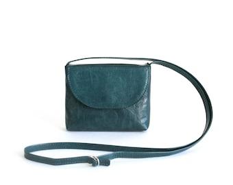 Crossbody Purse Deep Lake Green, Small Crossbody Bag, Evening Bag, Small Leather Handbag, Bridal Bag