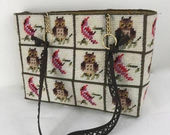 Vintage Needlepoint Tote/Handbag with an Owl and Cardinal Motif/70s Needlepoint Craft Bag