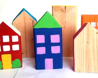 Town Blocks-Wooden Blocks-City Scape-Pretend Play Wood Blocks-Baby Blocks-City Blocks-Wood Toys-Montessori Building Blocks-Pretend Play-Kids