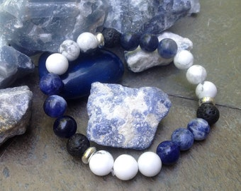 Calming, Sodalite and Natural Howlite Gemstones and Essential Oils Diffusing Lava beads stretch Bracelet