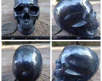 "2.35"" 9.8oz 276.6g Hematite Skull Realistic Crystal Healing Magick Metaphysical Mystic Reiki Wicca Altar Silver Large 3 inch SK2834"