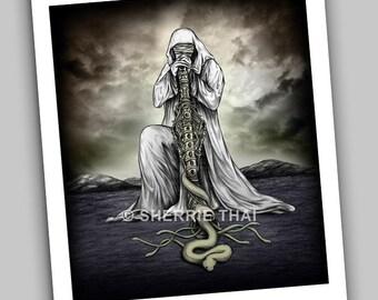 Snake Charmer, Gothic Horror Fantasy Surrealism Fine Art Print