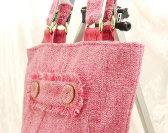 Bucket Bag, Shoulder Bag, Pink Bag, Pink Purse, Purse, Handbag, UPcycled Recycled Repurposed Jacket Purse, Pink Fuschia Purse, Bag Again