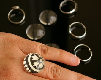 40 pcs combo - silver adjustable brass ring setting with 20mm ultra clear glass dome cabochons - Lead free, cadmium free