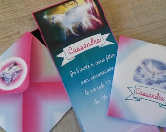 Invitation card and matching envelope - Pegasus and Unicorn Theme