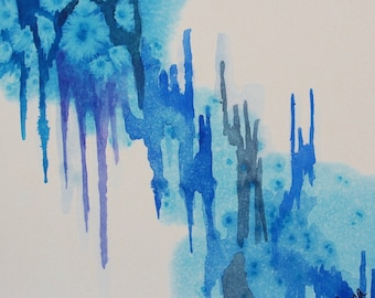 "Original Abstract Watercolor Painting, Winter, 6""x6"""