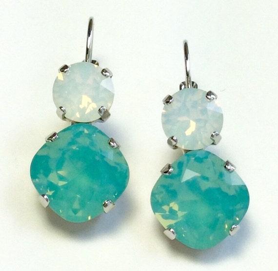 Swarovski Crystal 12MM/8.5mm Drop Earrings - Pacific & White Opal  - OR Choose Custom Colors  -  Classic Drama   FREE SHIPPING