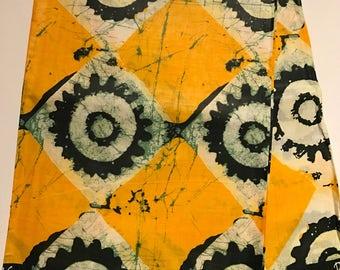 African print fabric, Batik, African Wax Print, Circles in Diamond shapes, Yellow Batik, African Ankara, African Material, sold by the yard