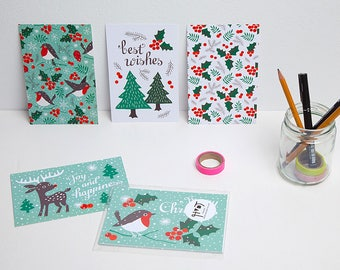 Christmas postcards / kerstkaarten / ansichtkaarten - set of 5 - design by Heleen van den Thillart