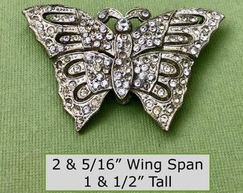 Largest 1920s Rhinestone Encrusted Silver Tone Metal Butterfly Dress Trim