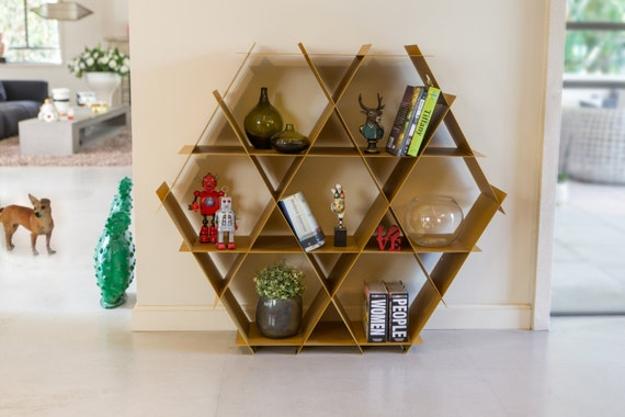 Gold Large Geometric Shelf Honeycomb Bookcase Shoe Storage
