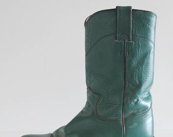 Unique 80's Vintage Justin Teal Classic Cowboy Boots
