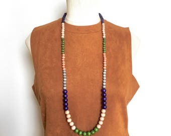 long boho necklace / wood bead necklace / colorful necklace / multicolor necklace / navy olive green gray mauve blush / long beaded necklace