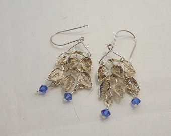 Repurposed 800 Silver Leaf Dangle Earrings SS Ear Wires