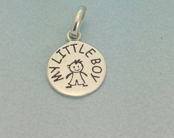 "Sterling silver ""My Little Boy"" disc charm. Sterling silver child charm. Silver New Mummy Charm. 925 Sterling Little Boy Charm"