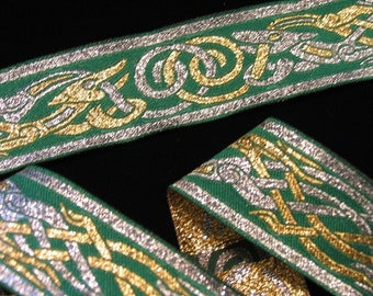 3 3\/4 yards CELTIC DOG Jacquard trim in silver, gold on green. 1 1\/4 inch wide. 701-D