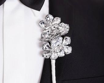 Prom Boutonniere, Wedding Boutonniere - Five Flower Ranier Boutonniere - Buttonhole, Silver Boutonniere, Crystal Flowers