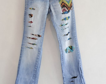 Patched Denim / Patched Jeans / Reworked Vintage Jeans with Patches /  vintage brand jeans/denim vintage/redone jeans /boyfriend jeans