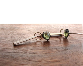 Green rose cut sapphire and gold earrings, oxidized silver and sapphire dangling earrings