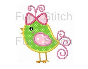 Cute bird applique machine embroidery design