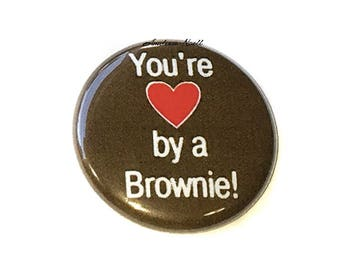 """Brownie Magnet, 1"""", Button Magnet, Heart Magnet, Brownie Party Favor, Brownie Decor, Brownie Locker Magnet, Brownie Love Magnet, Heart"""