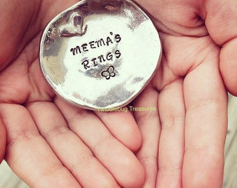 Pewter Trinket Dish - Pewter Ring Dish - Mother's Day - Jewelry Dish - Hand Stamped