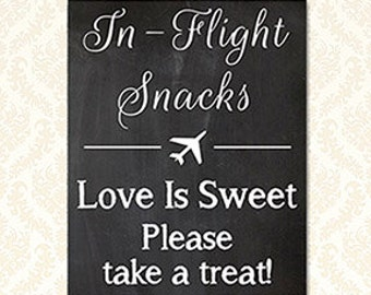 In Flight Snack Sign, Travel Wedding Theme, Printable Travel Baby Shower, Travel Party Decorations 5x7 and 8x10, 5219