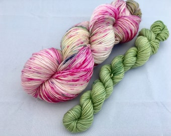 Hand dyed yarn Dandy sock with 20g mini-'Cottage garden'