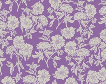 Purple and White Vintage Style Floral Fabric - Valorie Wells Nouvella Collection - cotton Fabric by the yard