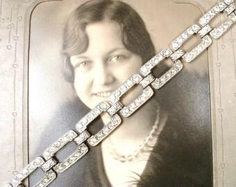 Vintage Art Deco Rhinestone Bracelet,Wide Link Bridal Bracelet,Silver Paste Pave Crystal 1920 Great Gatsby Wedding Flapper Jewelry Geometric