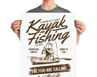 Kayak Fishing Adventure Fisherman Summer Camp Poster