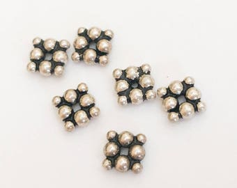 6 Bali Sterling Silver Square Spacer Rondelle with Granulation, .925 Sterling Silver Spacer Beads 5mm