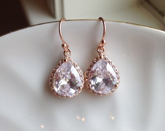 Large Rose Gold Earrings - Rose Gold CZ Jewelry - Clear Crystal Earrings - Rose Gold Wedding Jewelry - Bridesmaid Jewelry - Bridal Earrings