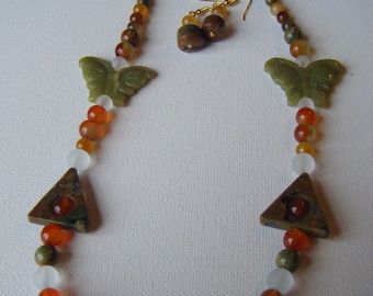 Ryolite and jade butterflies necklace and earring set #57