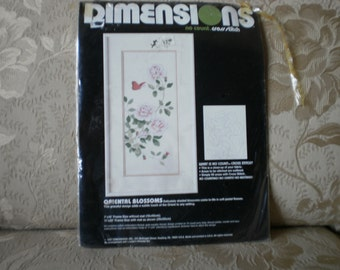 Vintage Oriental Blossoms No Count Cross Stitch Complete Kit