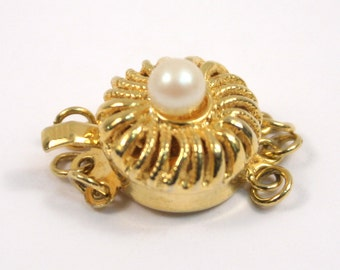 Gold and pearl clasp, filigree three-strand decorative jewelry supply
