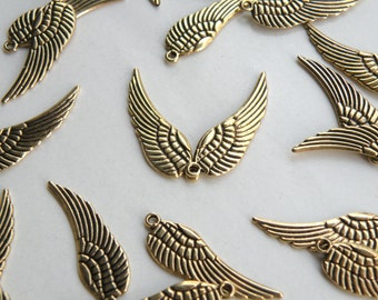 10 Angel Wing charms antique gold steampunk supplies 30x9mm PA1262