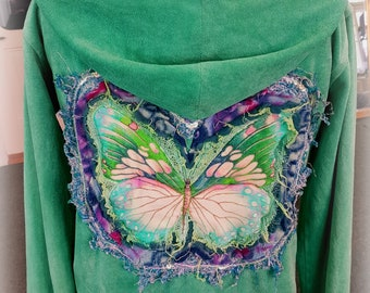 turquoise butterfly Hoodie-fantasy fairy sweater, festival wear,upcycled sweater