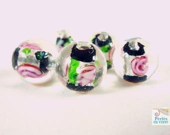 5 glass lampwork black, 12mm, (pv256) beads